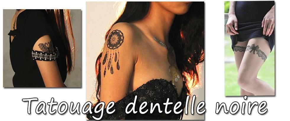Tatouage temporaire dentelle noire, tattoo femme, Mikiti