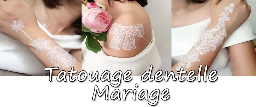 Tatouage temporaire mariage, tattoo éphémère bmanc, dentelle, Mikiti