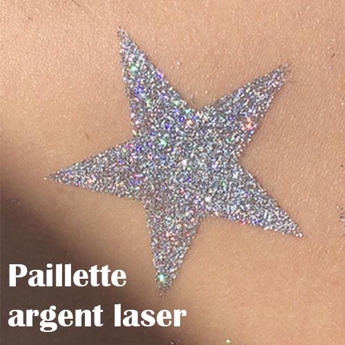 Paillette cosmétique argent laser