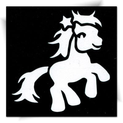 Pochoir adhésif poney étoile , tatouage éphémère
