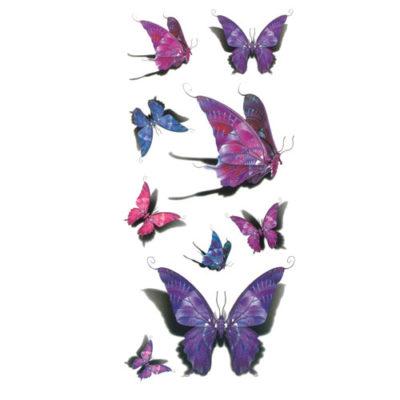 Tatouage éphémère papillon violet 3D