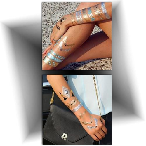 Tatouage temporaire bracelet, tattoo doré, Mikiti