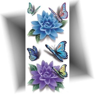 Tatouage papillon nénuphar 3D