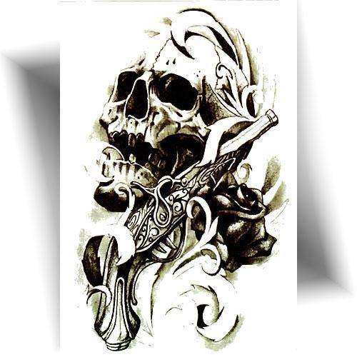 Tatouage éphémère crâne pistolet