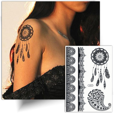 Tatouage temporaire attrape rêve, faux tattoo noir femme