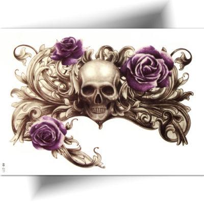 Tatouage temporaire crâne rose violette