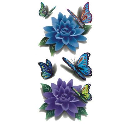 Tatouage-temporaire-papillons-fleur-3D