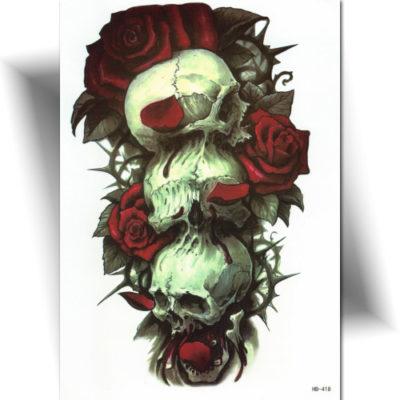 Tatouage temporaire crânes roses