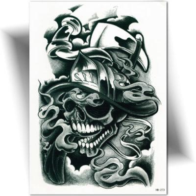 Tatouage éphémère crâne pompier
