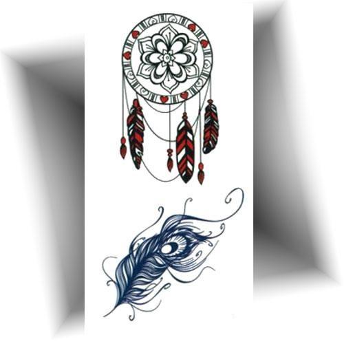 Mini tatouage plume paon