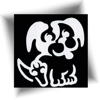 Pochoir adhésif chien tatouage temporaire