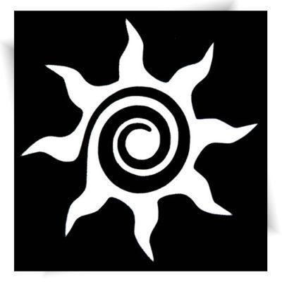 Pochoir adhésif soleil, tatouage éphémère