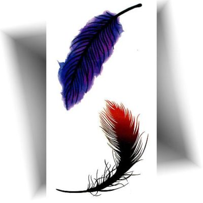 Mini tatouage plume violette