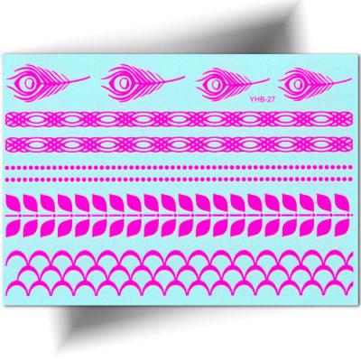 tatouage temporaire plumes fluorescentes