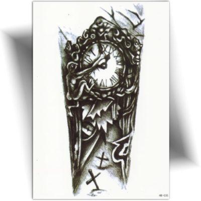 Tatouage temporaire horloge funèbre