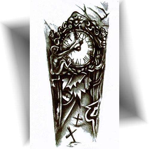 Tatouage-temporaire-horloge-funèbre