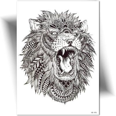 Tatouage éphémère lion plumes