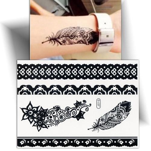 Tatouage temporaire plume noire, faux tatouage plume, Mikiti