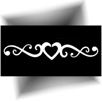 Pochoir adhésif large Cœur tatouage provisoire