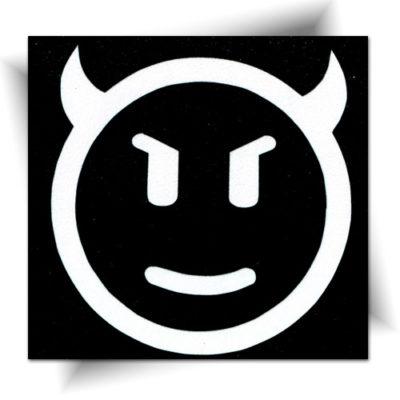 Pochoir adhésif smiley diable, tatouage éphémère