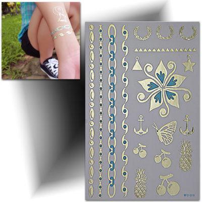 Tatouage bracelet femme 3D, tattoo métallisé or