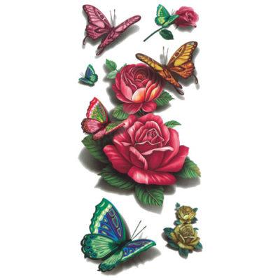 Tatouage éphémère rose 3D