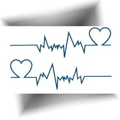 Mini tatouage temporaire cardiogramme