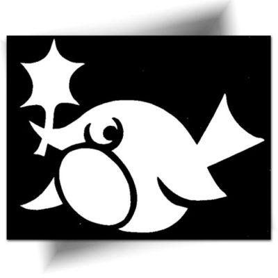 Pochoir adhésif poisson lune tatouage temporaire
