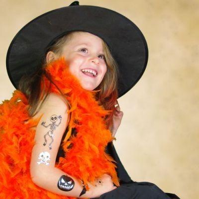 Taouage éphémère sur le théme d'Halloween, tatouage métallique doré
