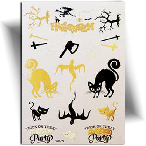 Tatouage temporaire métallique doré sur le thème d'Halloween
