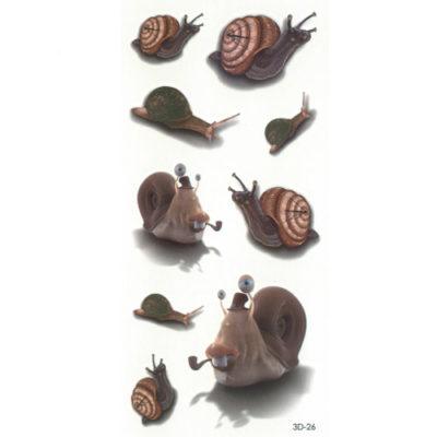 Tatouage effet 3D Escargots