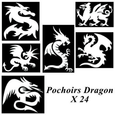 Kit pochoir adhésif dragon