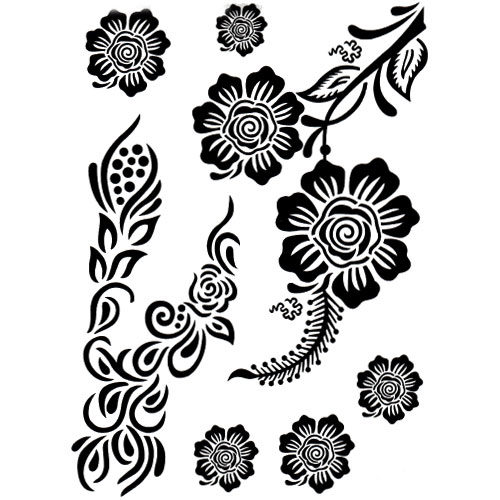 Tatouage éphémère fleur henné noir