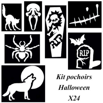Kit pochoir Halloween tatouage paillette