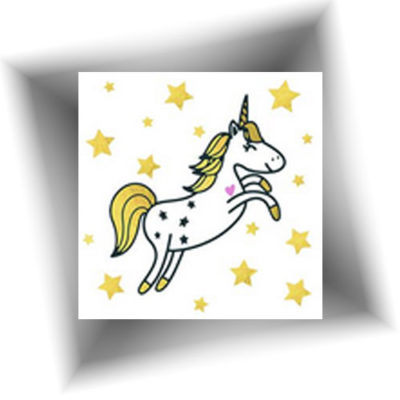 Mini tatouage licorne étoilée