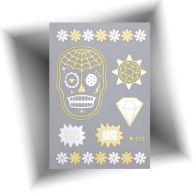 Mini tatouage métallisé skull
