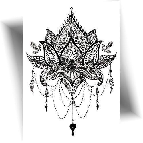 Tatouage temporaire fleur lotus