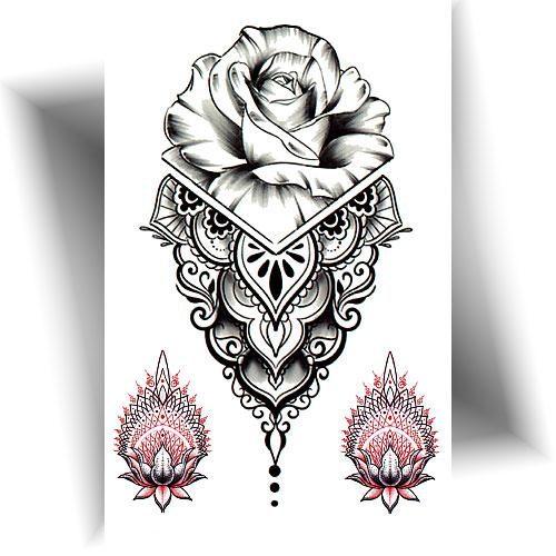 Tatouage éphémère rose mandala