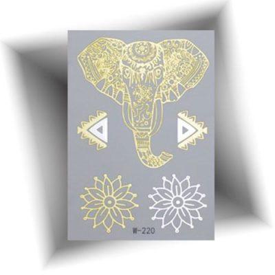 Mini tatouage métallisé éléphant