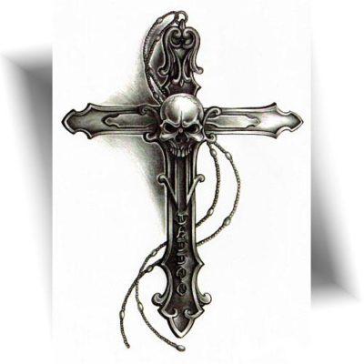 Tatouage temporaire croix crâne