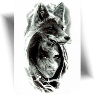 Tatouage temporaire femme renard