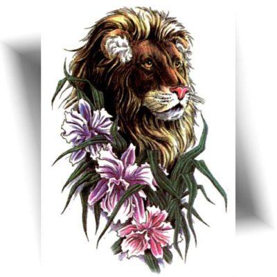 Tatouage temporaire lion floral