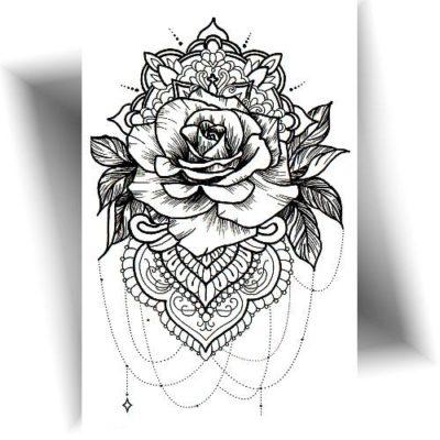 Tatouage temporaire rose mandala