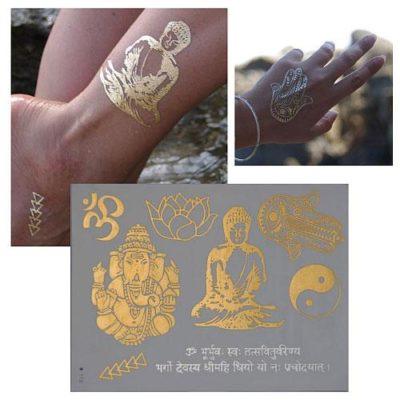 Tatouage temporaire métallisé zen