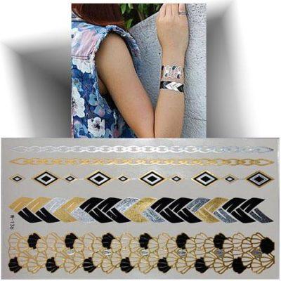 Tatouage métallisé bracelet coquillage