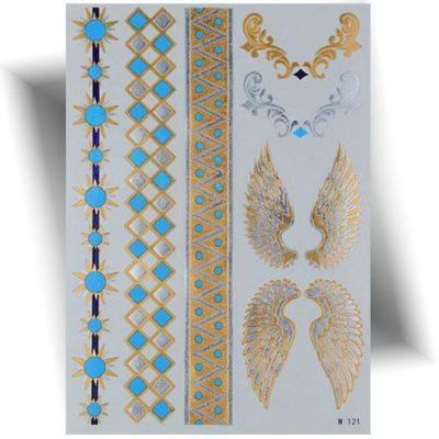 Tatouage métallisé bracelets bleu