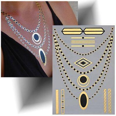Tatouage métallisé collier doré