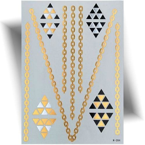 Tatouage métallique doré bijou