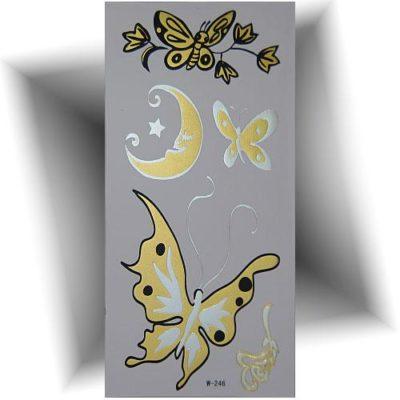 Tatouage métallisé papillon doré