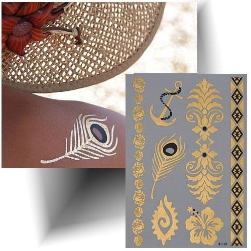 Tatouage métallisé plume doré
